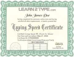 Typing Certifications  Get A Typing Certification Online Typing Certifications Printed